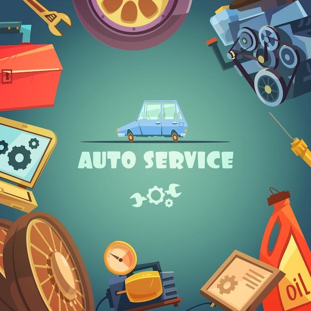 Auto-service-cartoon-hintergrund Kostenlosen Vektoren