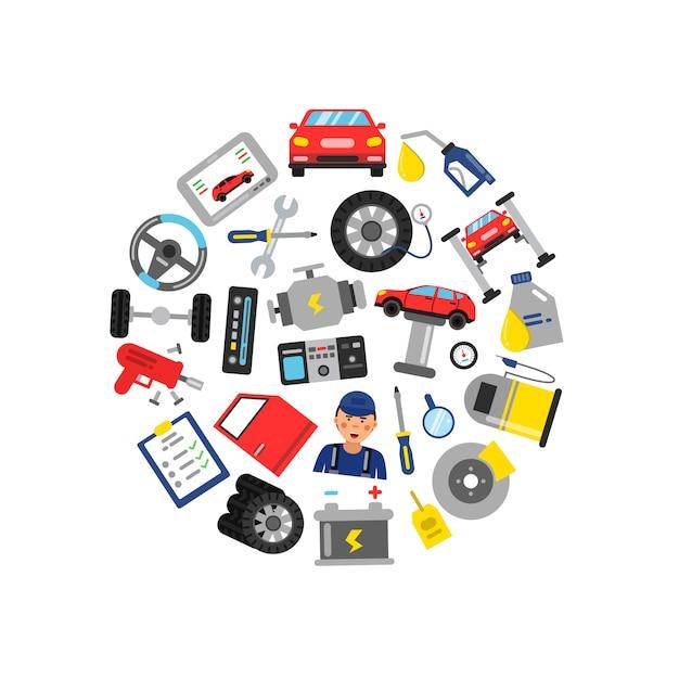 Auto-service-elemente im kreis gesammelt Premium Vektoren