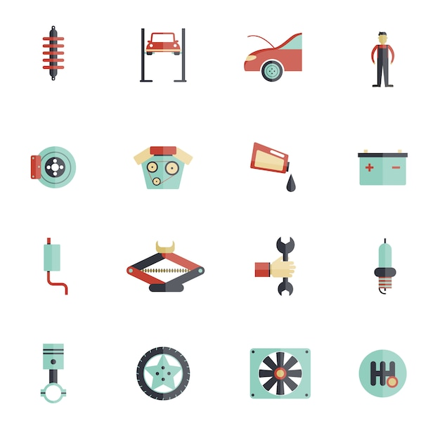 Auto-service-flach-icon-set Premium Vektoren