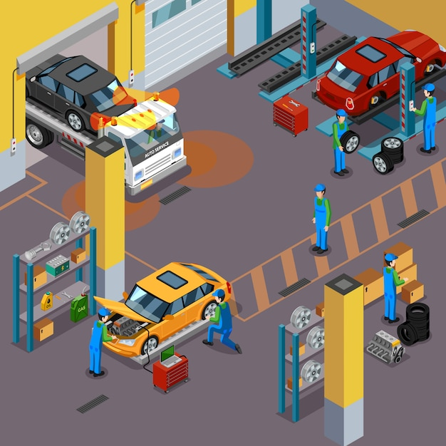 Auto-service-isometrische konzept Kostenlosen Vektoren