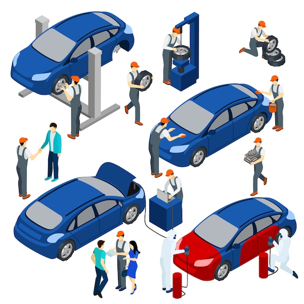 Auto service-konzept festgelegt Kostenlosen Vektoren