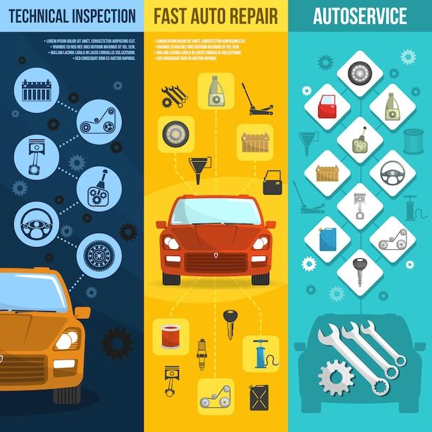 Auto service vertical banner set Kostenlosen Vektoren