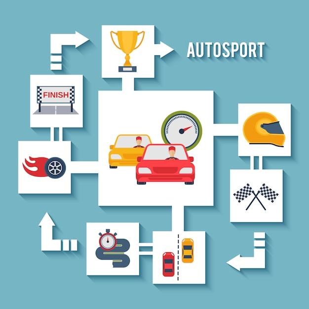 Auto-sport-konzept Premium Vektoren