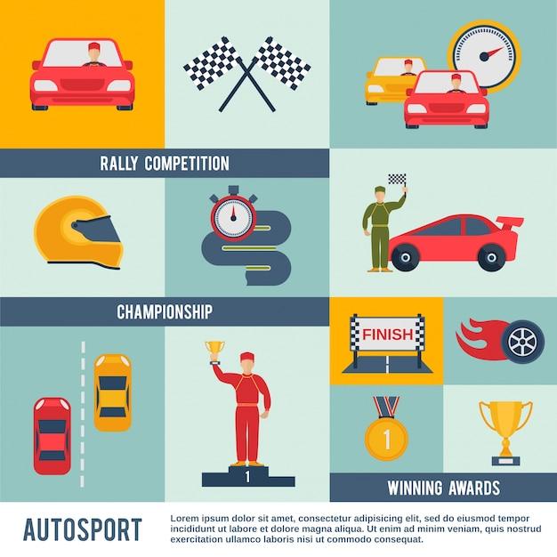 Auto-sport-symbol flach Kostenlosen Vektoren