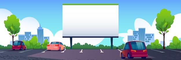 Auto straßenkino mit leerem bildschirm Kostenlosen Vektoren