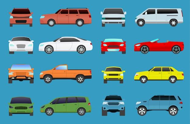 Auto typ vektor modell fahrzeugobjekte symbole setzen mehrfarbige automobil supercar. rad symbol auto typen coupé fließheck. verkehrssammlung showroom wohnmobil auto typen minivan flat mini automotive Premium Vektoren