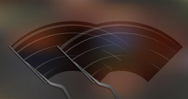 Auto windschutzscheibe wischglas, scheibenwischer reinigt die windschutzscheibe. lager illustration Premium Vektoren