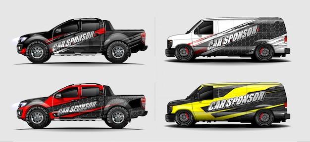 Auto wrap aufkleber design vektor. abstrakte grafische hintergrund-kit-designs für fahrzeug, rennwagen, rallye, lackierung, sportwagen Premium Vektoren