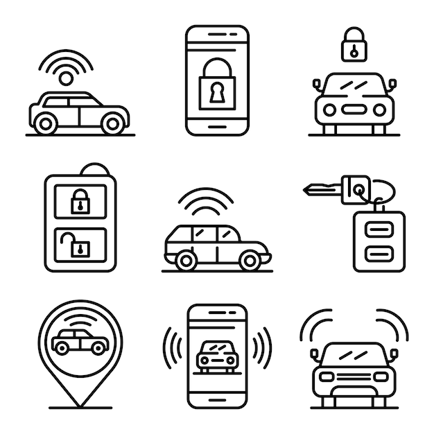 Autoalarmsystemikonen eingestellt, entwurfsart Premium Vektoren