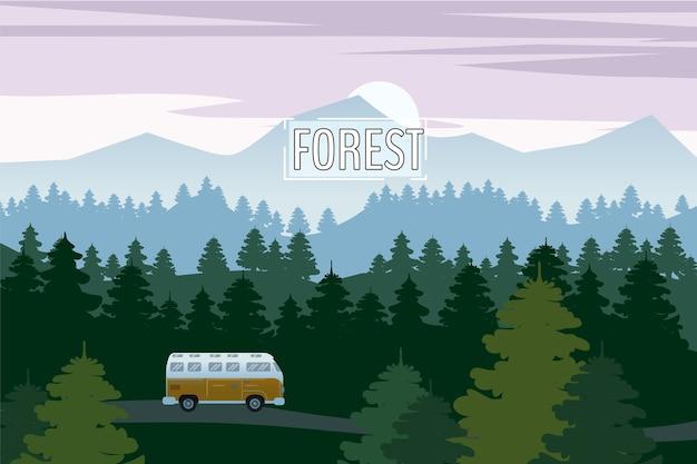 Autobahnantriebswagen mit schöner fichtenwaldlandschaft. gebirgshorizont Premium Vektoren