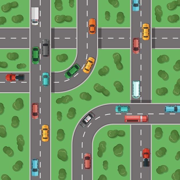 Autobahnen mit autos und bäumen Premium Vektoren