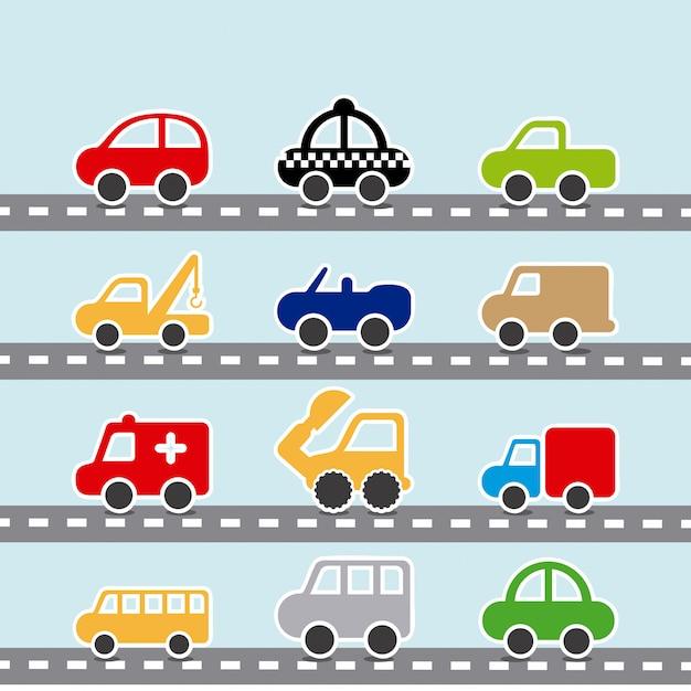 Autodesign über blauer hintergrundvektorillustration Premium Vektoren