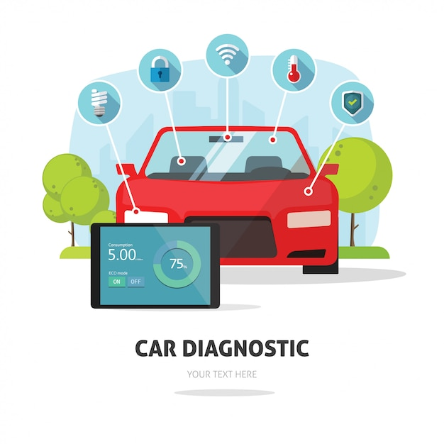 Autodiagnostik-service oder versicherungskonzept Premium Vektoren