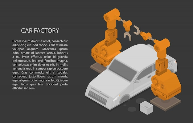 Autofabrik-konzeptfahne, isometrische art Premium Vektoren