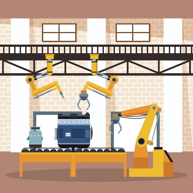 Autofabrik und shop Premium Vektoren