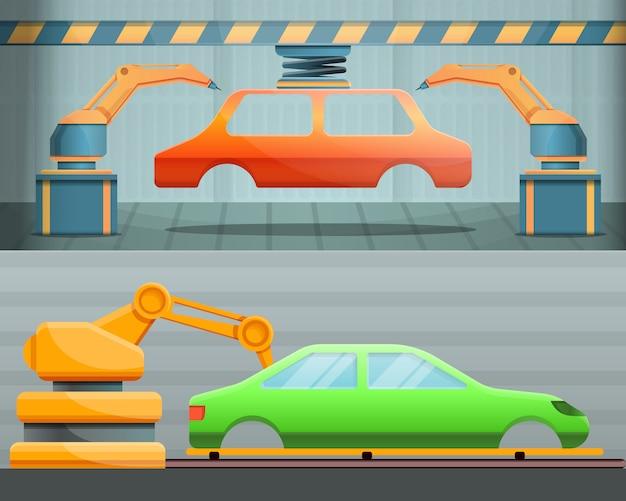 Autofabrikillustration eingestellt auf karikaturart Premium Vektoren
