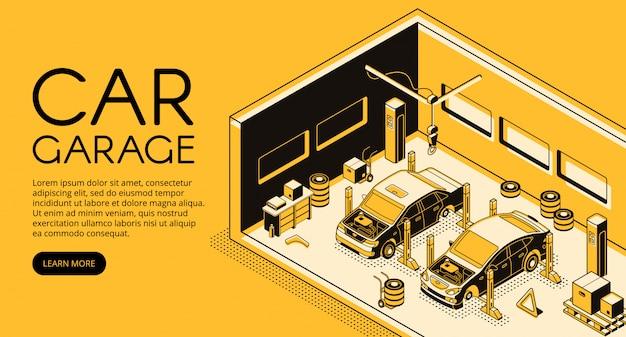 Autogarereauto-Reparaturmechaniker-Stationsillustration in der isometrischen schwarzen dünnen Linie Design Kostenlose Vektoren