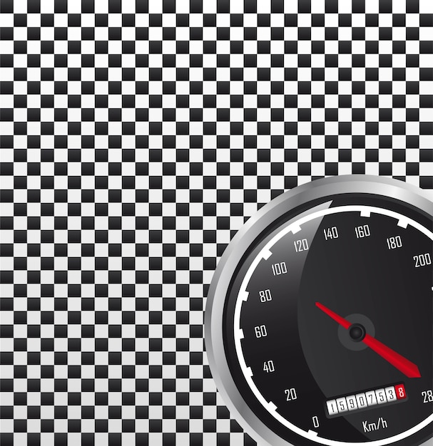 Autogeschwindigkeitsmesser mit platz für kopienvektorillustration Premium Vektoren