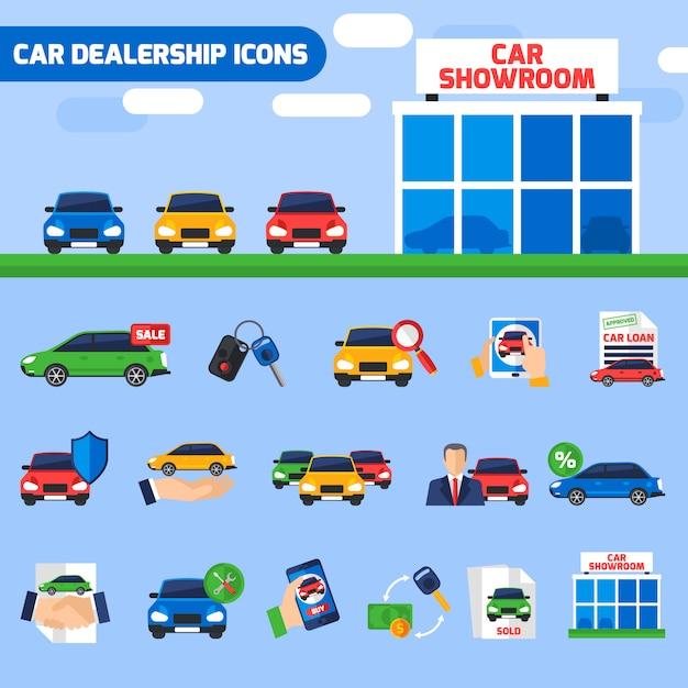 Autohändler-flache ikonen-zusammensetzungs-fahne Kostenlosen Vektoren