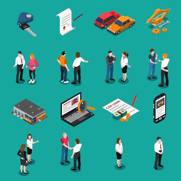 Autohaus isometrische icons set Kostenlosen Vektoren