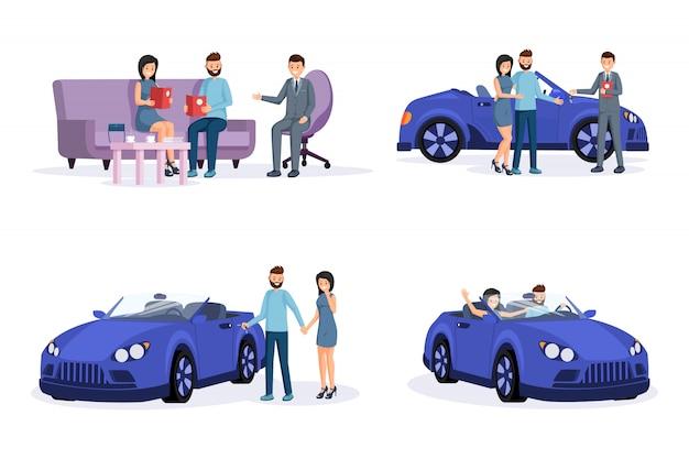 Autokaufprozessschritte illustrationen eingestellt Premium Vektoren