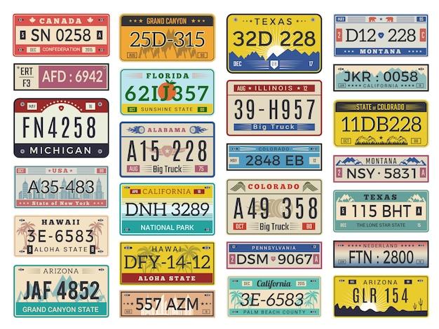 Autokennzeichen. autobahnauto-lizenznummern alte retro-art-zeichensammlung Premium Vektoren