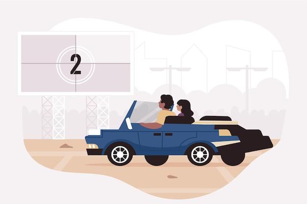 Autokino-illustration Kostenlosen Vektoren