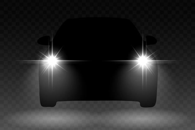 Autolichtblitzeffekt mit automobilschattenbild Premium Vektoren
