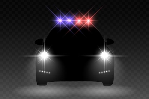 Autolichtblitzeffekt mit mit hellem blinker auf einem polizeiwagen Premium Vektoren