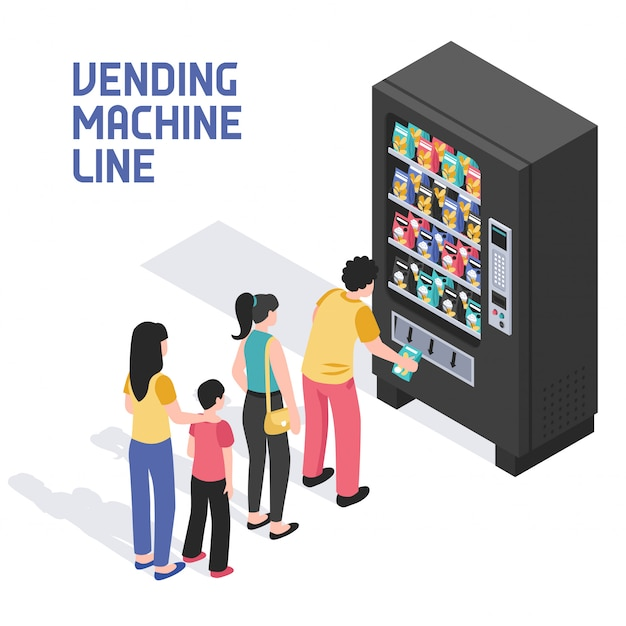 Automaten isometrische darstellung Kostenlosen Vektoren
