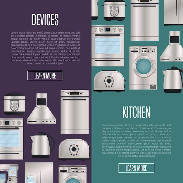 Automatische haushaltsgerätfahnen der küche Premium Vektoren