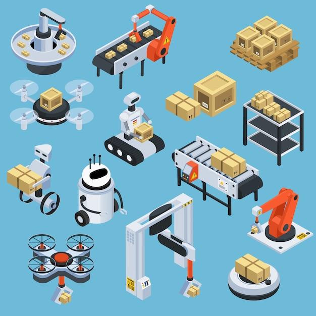 Automatische logistik lieferung isometrische elemente Kostenlosen Vektoren