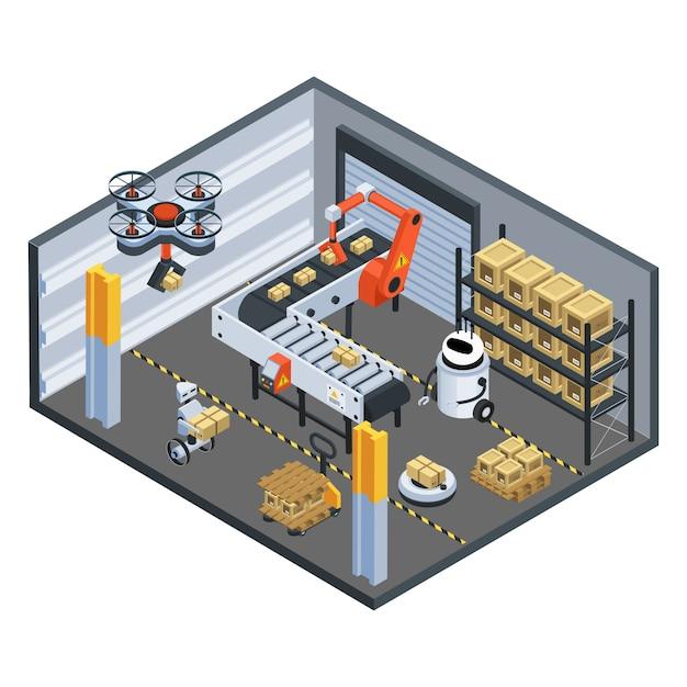 Automatische logistik lieferung isometrische zusammensetzung Kostenlosen Vektoren