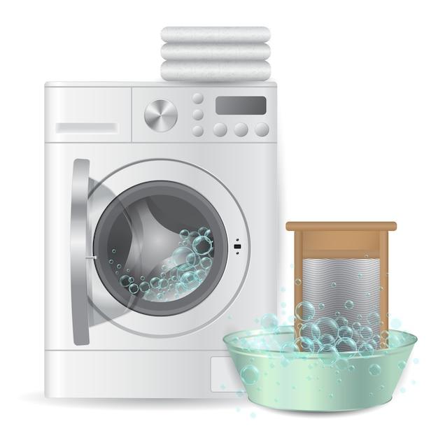 Automatische offene waschmaschine mit stapel von weißen frottiertüchern Premium Vektoren