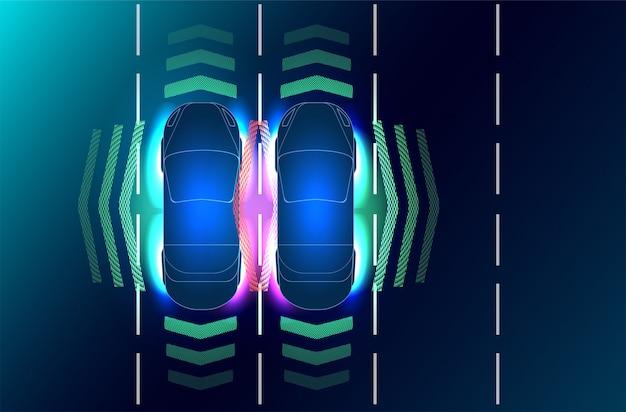 Automatisches bremssystem verhindert autounfall durch autounfall. Premium Vektoren