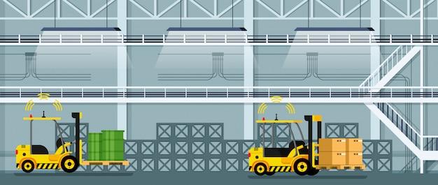 Automatisches gabelstaplerauto, das fracht und waren fährt Premium Vektoren