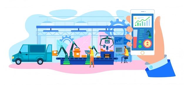 Automatisches lkw-laden Premium Vektoren