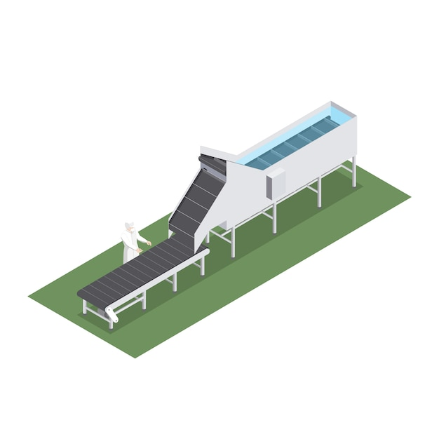 Automatisierte fabrik mit förderband mit volumetrischer kapazität in der lebensmittelindustrie Premium Vektoren
