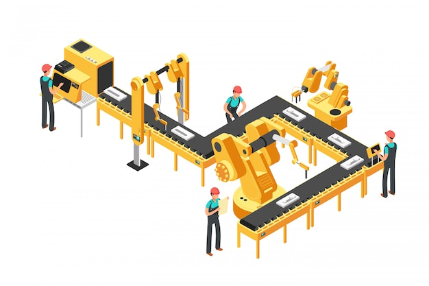 Automatisierte fertigungsstraße, fabrikförderer mit arbeitskräften und isometrisches industrielles vektorkonzept der roboterarme Premium Vektoren