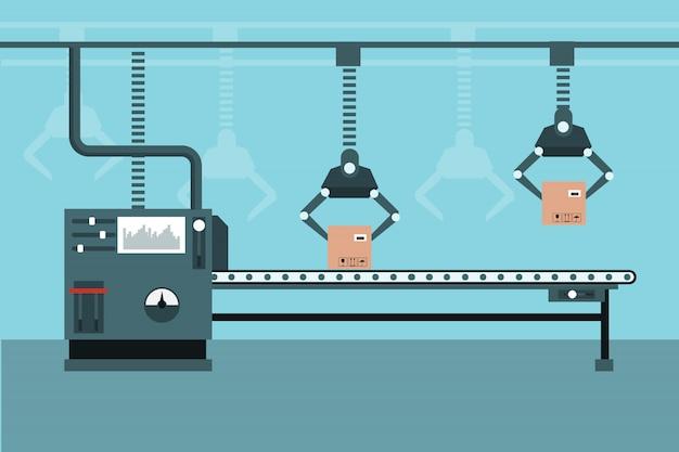 Automatisierte industrielle produktionslinie Premium Vektoren