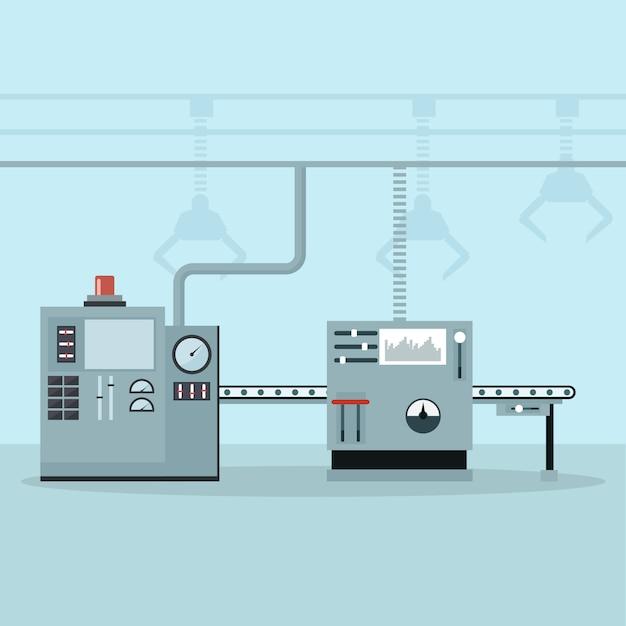 Automatisierte maschinen in einer steuerungs- und produktionslinie Premium Vektoren