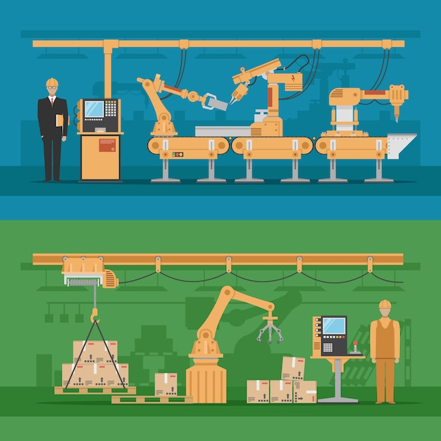 Automatisierte montagezusammensetzungen mit produktionsprozess und roboterlager Kostenlosen Vektoren