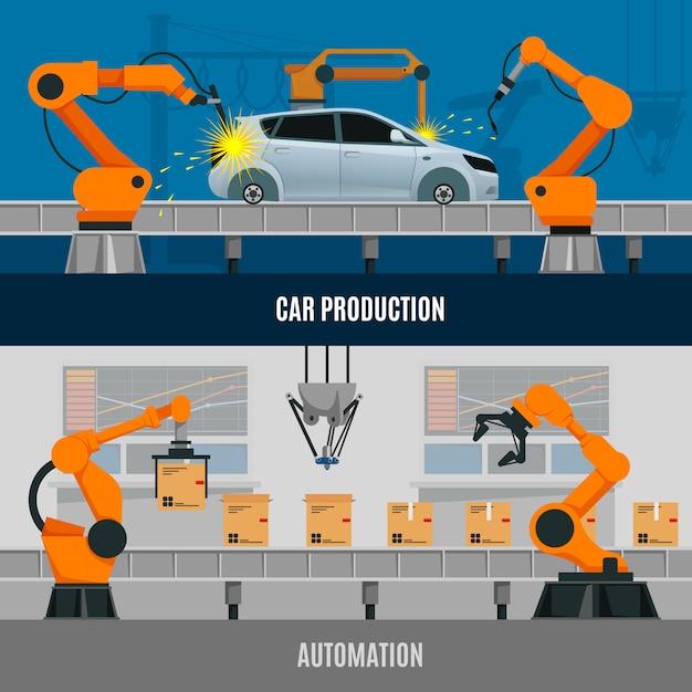 Automatisierung banner set Kostenlosen Vektoren