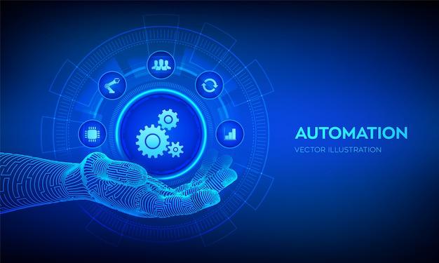 Automatisierungsikone im roboterhandhintergrund Premium Vektoren