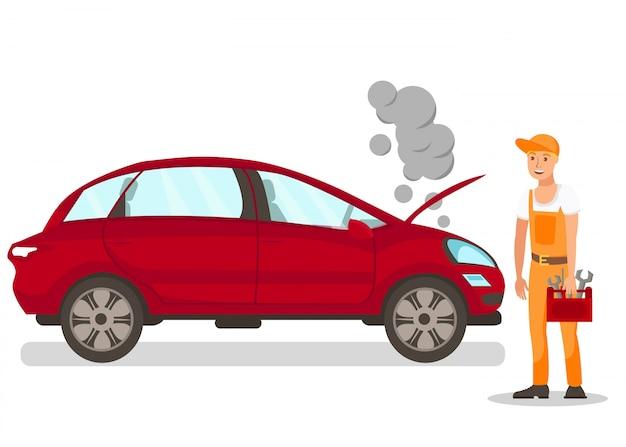 Automechaniker, der auto repariert Premium Vektoren