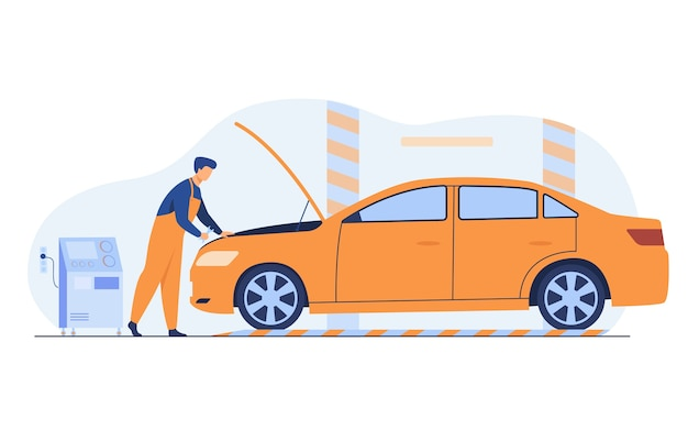 Automechaniker, der fahrzeugmotor lokalisierte flache vektorillustration repariert. karikaturmann, der auto mit offener motorhaube in der garage repariert oder überprüft. Kostenlosen Vektoren