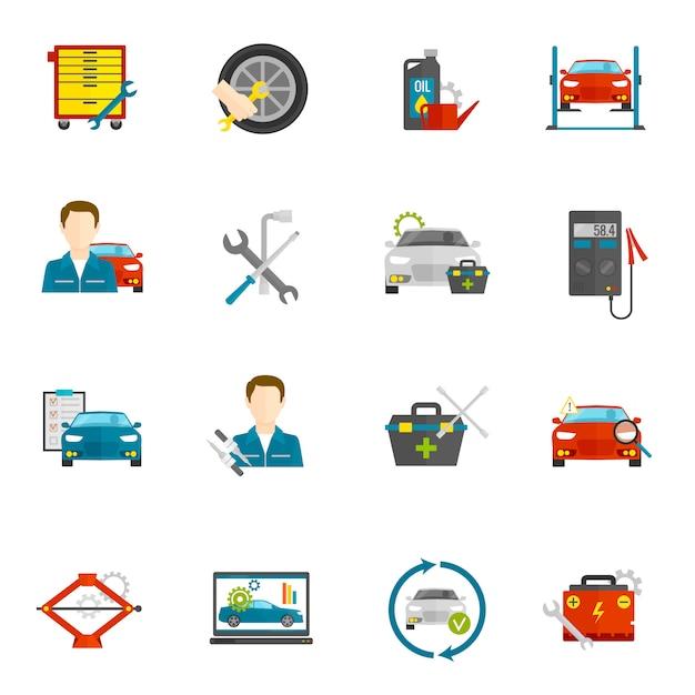 Automechaniker-flache ikonen eingestellt Kostenlosen Vektoren