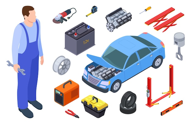 Automechaniker und autowerkzeug. isometrietechniker, autoindustrieausrüstung, autovektorelemente. autoreparaturservice, illustration fahrzeugmechaniker Premium Vektoren