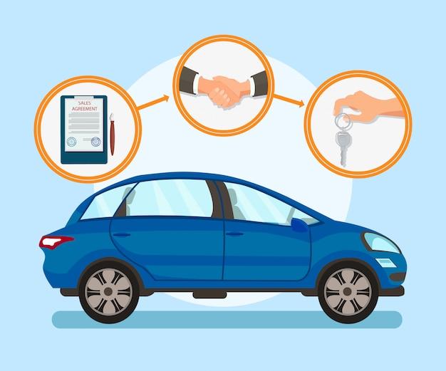 Automobilkauf tritt flache vektor-illustration Premium Vektoren