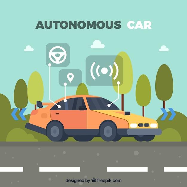 Autonome auto-konzept mit flachem design Kostenlosen Vektoren